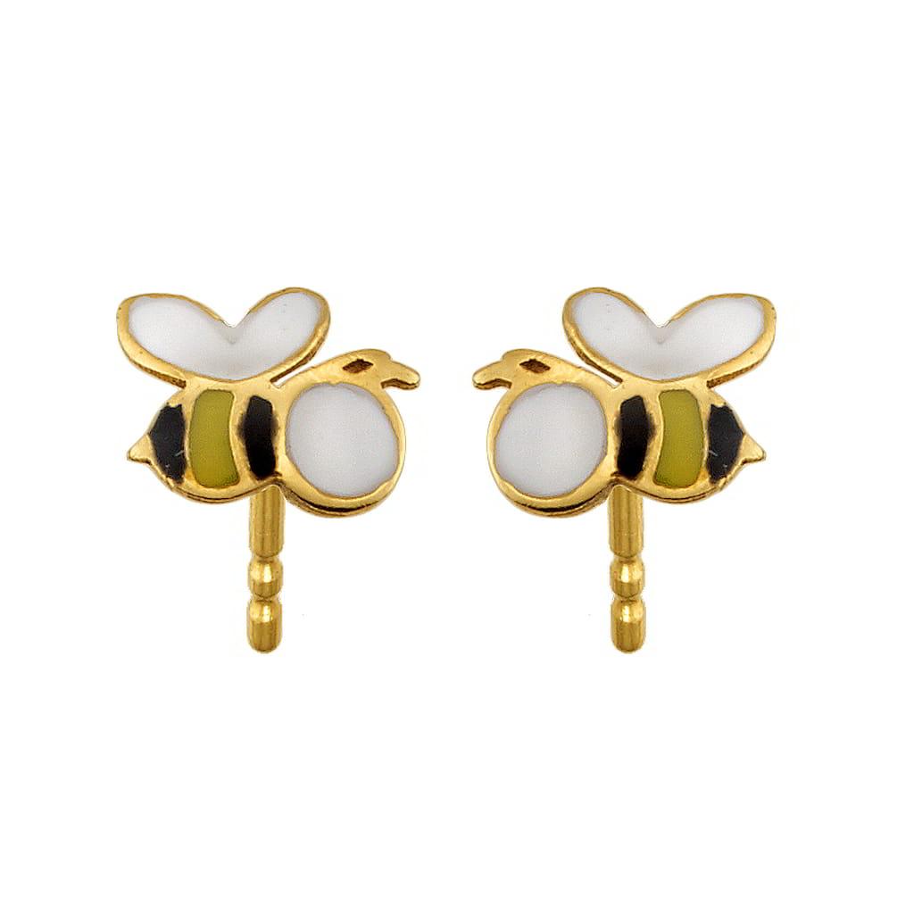 Σκουλαρίκια Μέλισσα Χρυσά Κ14 με Σμάλτο 921dbdc4cbb